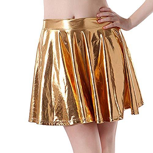 Deelin minirok, dames, sexy, plissé van leer, reflecterend, glanzend, modieus, wild, korte rok, A-Line zomerrok
