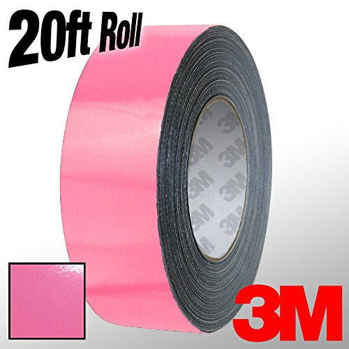 VViViD 3M 1080 Pink Gloss Vinyl Detailing Wrap Pinstriping Tape 20ft Roll (1 Inch x 20ft)
