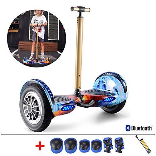 """10"""" Patinete Eléctrico Scooter Eléctrico Auto- Equilibrado con Barandilla De Seguridad Ajustable con Bluetooth LED Flash Regalo para Niño+ Un Conjunto De Equipo De Protección"""