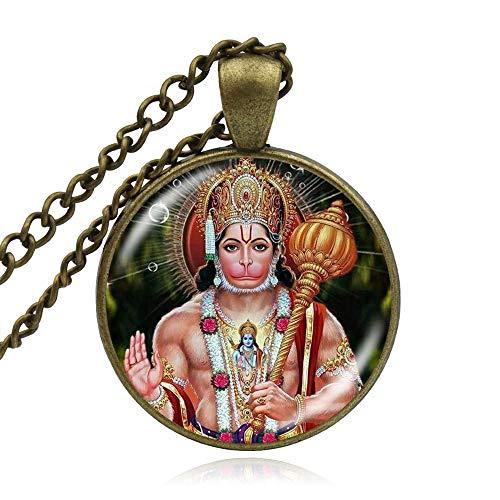Joyería Hindú Colgante Arte Lord Hanuman Indian Collares Espiritual Bronce Chapado Lindo Hinduismo Collar Joyería