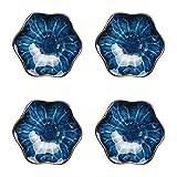 FHKBK Piatto per condimento Ciotole in Ceramica Set di Ciotole per Salsa a Forma di Fiore Squisito/Piatti per Salsa di Pomodoro, Gelato, Dessert e Altre cene per Feste 4,3 Pollici (col