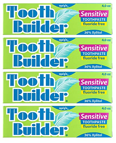 Squigle Tooth Builder SLS Free Toothpaste (Stops Tooth Sensitivity) Prevents Canker Sores, Cavities, Perioral Dermatitis, Bad Breath, Chapped Lips - 4 Pack