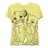 Disney Ladies Lion King Fashion Shirt - Ladies Classic Hakuna Matata Clothing Lion King Front and Back Crop Top Tee (Yellow, Large)