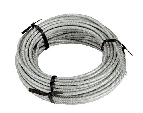 Connex DY2701386 Drahtseil Kunststoffummantelt mit Textilfaserseele, 15 m x 3-4 mm, verzinkt