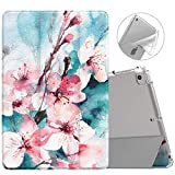MoKo Funda Compatible con New iPad Mini 5th Generation 7.9' 2019/iPad Mini 4 2015, Ultra Delgado Función de Soporte Protectora Plegable Cubierta Inteligente Trasera Transparente - Flor de melocotón