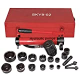 Pneumatic 10 Ton Air Hydraulic Knockout Punch Drive Hole Complete Set Metal Case 1/2 to 2 ...