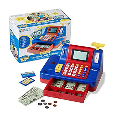 Learning Resources Pretend & Play Teaching Cash Register, Talking Register, Counting Activities, Money Management, 73 Piece Set, Ages 5+ by Learning Resources
