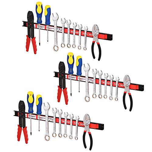 Bakaji Set 3pz Barra Magnetica Portautensili Barre Magnetiche Calamitate da Parete Muro Porta Attrezzi da Lavoro e Coltelli Dimensione 20/30/45 cm Kit di Montaggio Incluso (3 x 46 cm)