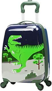 Children Rolling Travel Suitcase Cartoon Dinosaur Kids Carry On Universal Wheels 18 in Travel Luggage Case for Boys (Dinosaur)