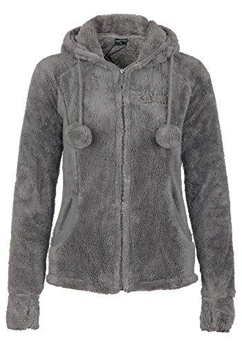Stitch & Soul Damen Teddy Fleecejacke mit Kapuze und Öhrchen | Warme Flauschjacke mit hohem Kragen, Größe:M, Farbe:Light Brown
