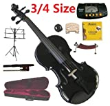 Merano 3/4 Size Black Violin with Case and Bow+Extra Set of String, Extra Bridge, Shoulder Rest, Rosin, Metro Tuner, Music Stand, Mute