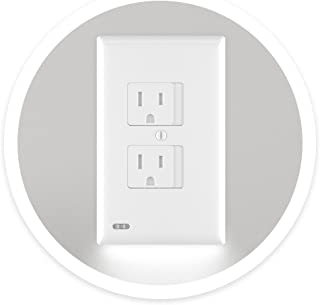 SnapPower SafeLight - Child And Baby Safety Power Outlet Wall Cover With LED Night Light - No Batteries Or Wires - Installs In Seconds - (Duplex, White) (1 Pack)