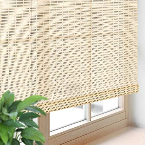 """Blackout Bamboo Roller Shades, Roll-Up Woven Roman Shades with 6"""" H Valance, Custom Light Filtering Bamboo Roller Blinds for Windows, Doors, Patio Door, Porch, Color 5"""