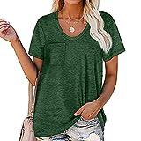 WXDSNH Camiseta De Verano para Mujer Camiseta De Manga Corta Blusa Cuello Redondo Bolsillo a Rayas Casual Tops Sueltos con Tripulación