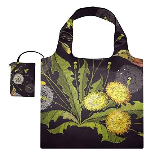 XiangHeFu Wiederverwendbare Lebensmittelgeschenkbeutel Einkaufstaschen Große Kapazität Faltbare Kolibri-Pflanze