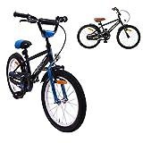 AMIGO BMX Fun - Velo Enfant - 18 Pouces - Garçon - 5 Ans - avec Frein à rétropédalage - Noir/Bleu