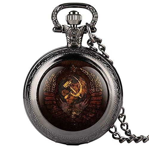 XXCHUIJU Reloj de Bolsillo, Emblema Vintage Insignias soviéticas Hammer Sickle Bolsillo Reloj Retro Rusia Ejército Comunismo Collar Cadena de Reloj para Hombres Mujeres (Color : Classic Black)