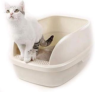 猫用トイレ本体 小さい猫および脂肪質のペットのための塀の異なったサイズのペット猫のトイレ砂鍋 適当な容量、快適に使える (色 : 白, サイズ : 64*47*27cm)