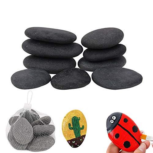 Hisredsun Piedras decorativas de 1 kg, piedras de pintura grandes y lisas, para pintar, guijarros planos de río para macetas, decoración de jardín y acuario (piedra de pintura gris-1 kg)