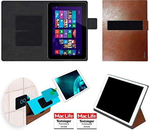 Hülle für HP Omni 10 Tasche Cover Hülle Bumper | in Braun Leder | Testsieger