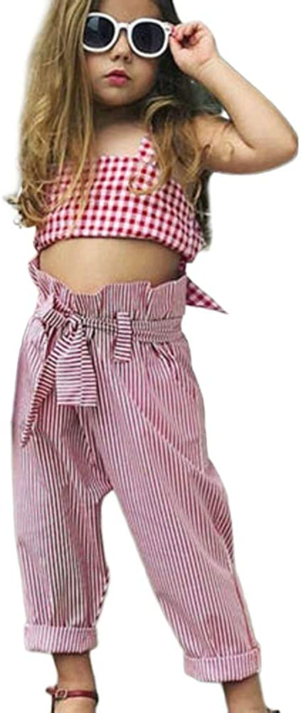 Wide Leg Striped Pants 2PCS Summer Outfit Clothing Sets WEUIE Toddler Kids Baby Girls Plaid Strap Tank Tops