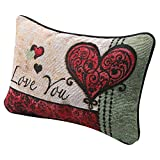 WHAT ON EARTH I Love You I Love You More Pillow - Woven Tapestry Throw Pillow with Reversible Love Messages