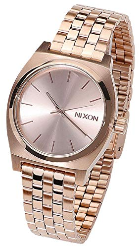 Nixon Medium Time Teller Damennuhr Analog Quarz mit Edelstahl Armband All Rose Gold