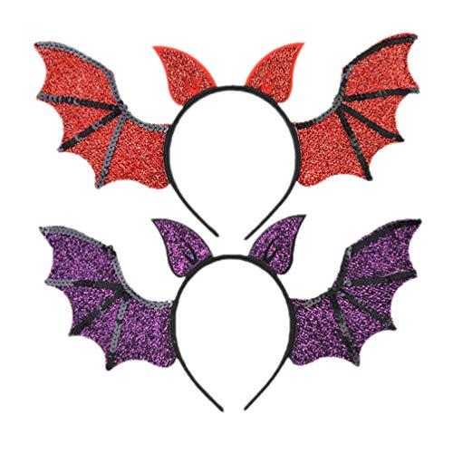 Lurrose 2 unids ala murciélago diadema accesorios para el pelo Cosplay diablo diadema para Halloween fiesta Cosplay traje
