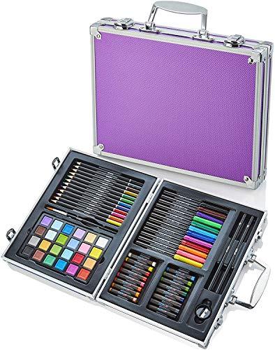 Artworx - 70-teiliges Kunstatelier mit lilafarbenem Aluminiumgehäuse - Malset für Kinder - Malstifte, Farben, Filzstifte für Kinder