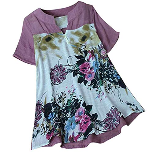 JinFZ Women Blouse Women Tops Mid-Length Floral Patterns Printed V-Neck Buttons Mid-Sleeves New Summer and Autumn Fashion Casual Cotton Loose and Comfortable All-Match Ladies T-Shirts E-Purple 4XL