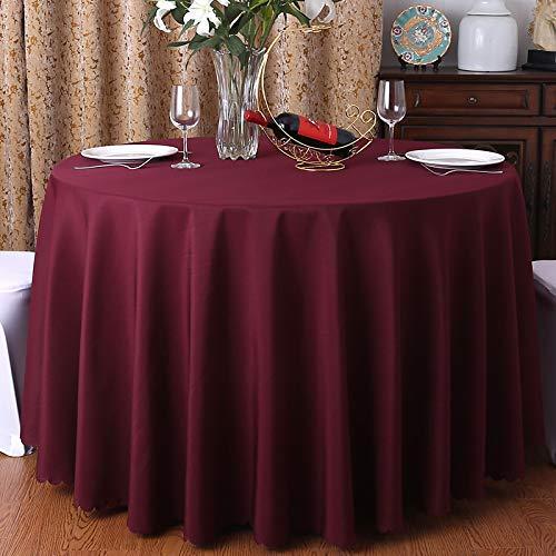 DJUX Mantel de algodón y Lino Mantel de Restaurante Hotel Banquete Mesa Redonda Redonda Mantel Blanco Impermeable y a Prueba de Aceite 160 cm
