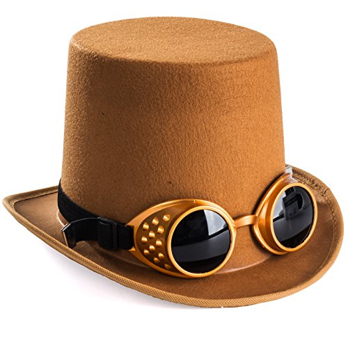 Tigerdoe Steampunk Hats - Steampunk Hat with Goggles - Burning Man Victorian Brown