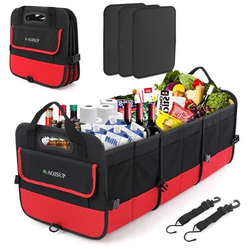 AojSup XXL Premium Kofferraum Organizer, Kofferraumtasche Auto, Faltbare Auto Kofferraum, Ttragbarem multifunktionellem Lagerplatz, 95L, Rot