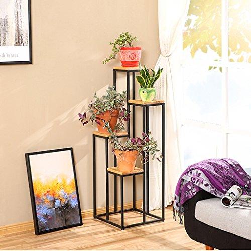 Fer d'intérieur/Fleur de bois Stand Plancher-type Plates-Formes Succulentes Orchidée Fleur Plateau pour Salon Balcon