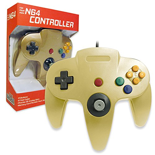 Old Skool Classic Wired Controller Joystick for Nintendo 64 N64 Game System - Gold