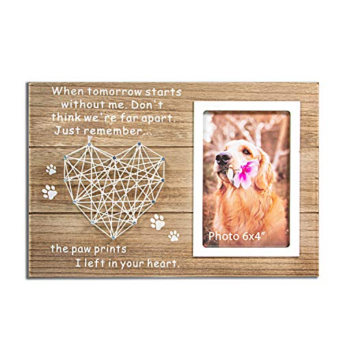 VILIGHT Dog and Cat Memorial Gifts - Paw Prints Sympathy Picture Frame for Pet Loss - 4x6 Inches Photo