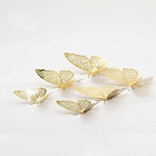 12pcs Gold/Silver 3D Hollow Butterfly Wall Sticker for Home Decoration Rooms Butterflies on Wall Wedding Decor Fridge Stic...