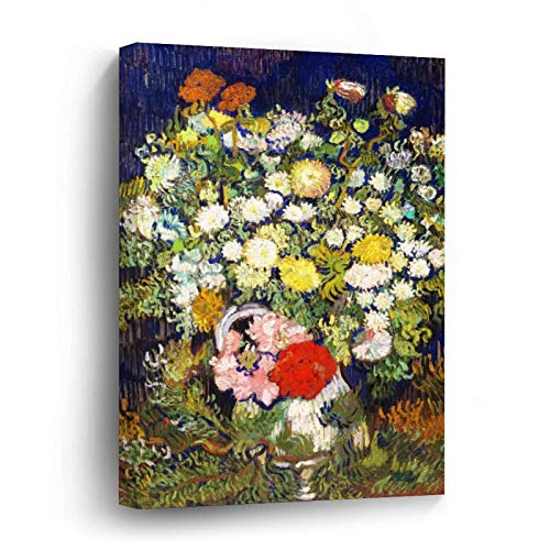 Vase with Flowers Vincent Van Gogh Fine Canvas Picture Painting Artwork Wall Art Poto Framed Canvas Prints for Bedroom Living Room Home Decoration, Ready to Hanging 12'x12'