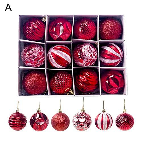 litty089 kerstboom opknoping ornament, een set van 12 stuks, kleurrijke ballen Bauble hanger met opbergdoos, decor voor bruiloft partij