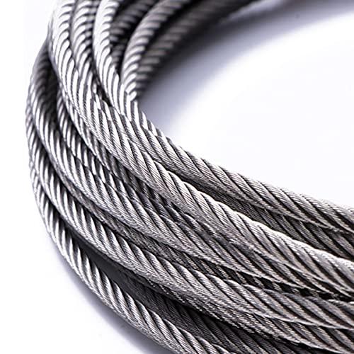 LEISHENT Cuerda De Alambre Cable De Alambre De Acero Inoxidable 316 para Luces Navideñas, Tendedero, Decoraciones Navideñas Fáciles De Colgar,5m,5mm