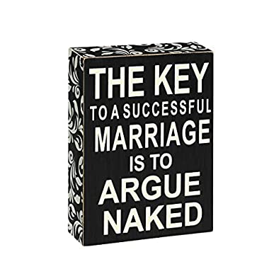 Unomor Wooden Box Sign with 7 x 5 Inch, Funny Signs as Wedding Gift for Home Decor and Wedding Supplies (THE KEY TO A SUCCESSFUL MARRIAGE IS TO AUGUE NAKED)