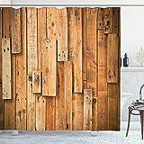 ABAKUHAUS Hölzern Duschvorhang, Lodge Wandplanken Drucken, mit 12 Ringe Set Wasserdicht Stielvoll Modern Farbfest & Schimmel Resistent, 175x200 cm, Dunkelorange Orange Lachs