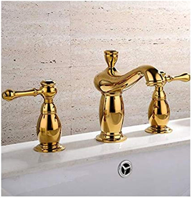 Wasserhahn Moderner Luxus-Wasserhahnmischerwasserhhne Warmes Und Kaltes Einloch-Becken Wasserhahn Gold Alle Kupfer Antik Becken Wasserhahn