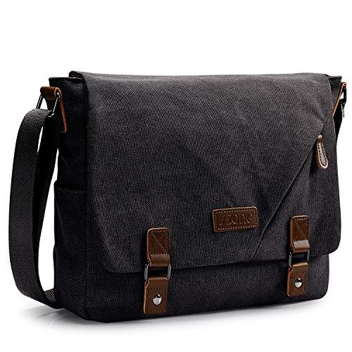 S-ZONE Vintage Canvas Messenger Bag School Shoulder Bag 14 Inch Laptop Briefcase (Dark Grey)