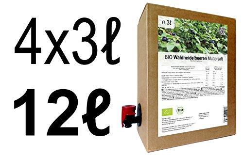 BIO Waldheidelbeeren Muttersaft - 100% Direktsaft 12 Liter ( 4 x 3 Liter )