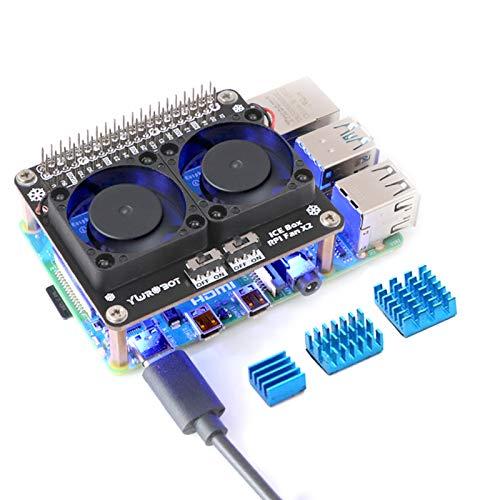 Seamuing Raspberry Pi 4B Dual Lüfter, Raspberry Pi 4B Kühlkörper Kit, Raspberry Pi 4B GPIO Erweiterungsplatine DC 5V 0,2A mit LED Kompatibel mit Raspberry Pi 4B / 3B + / 3B / 3A +