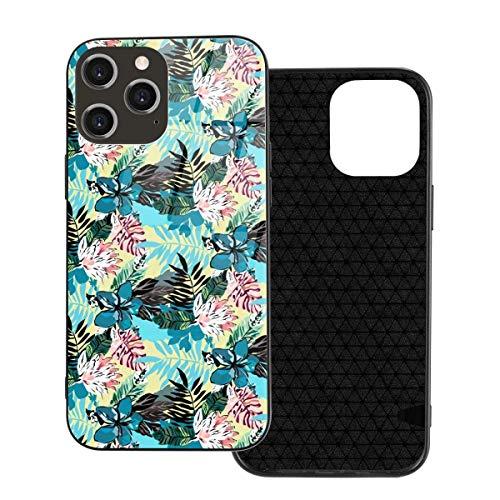 Mobilskal sommar tropiskt mönster med blå blommor i Hawaii stil telefonskal för iPhone 12/12 mini/12 Pro/12 Pro Max härdat glas bakskal + TPU för iPhone 12 Pro-6,1 tum