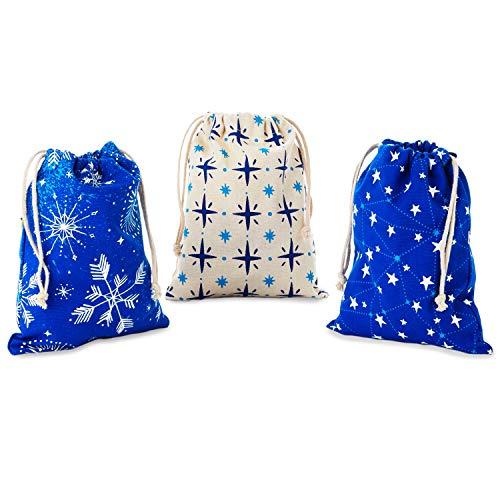 Hallmark Blue Drawstring Christmas Gift Bag Bundle (3 Fabric Gift Bags: 8' x 10') Snowflakes and Stars for Christmas, Hanukkah, Weddings, Birthdays