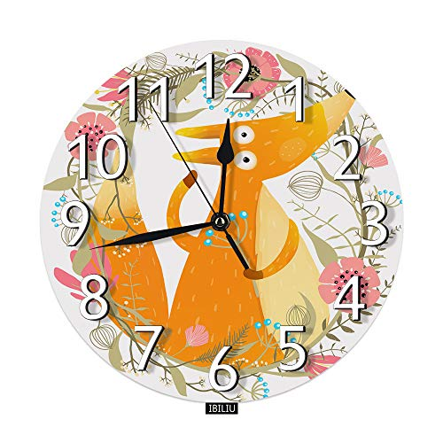 IBILIU Cute Fox Wall Clock,Wooden Forest Animal Flowers Garland Ginger Silent Non-Ticking Round Wall Clock Battery Operated for Home Office School Decorative Clock Art