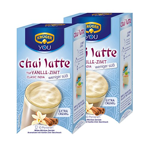 Krüger Chai Latte Classic India weniger süß, Vanille-Zimt, mildes Milchtee Getränk, 2er Pack, 2 x 10 Portionsbeutel